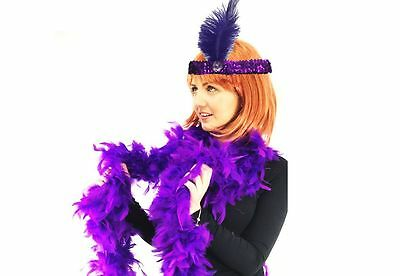 Flapper Lady Instant Kit Purple Flapper Headband with Fluffy Deluxe Feather Boa