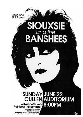 Siouxsie & the Banshees  POSTER  *LARGE*  Concert Sioux 80's Goth Punk LIVE