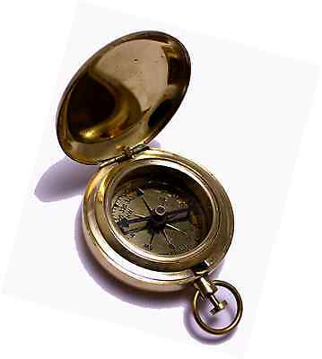 """1.75"""" Classic Pocket Antique Style Camping Brass Compass"""