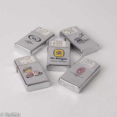 Lot of 5  Zippos Slim Lighters Advertising, Various Condition Some Rare