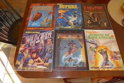 Lot of 6 Gurps Books - Wild Cards, Castle Falkenstein, Psionics, Supers, MORE