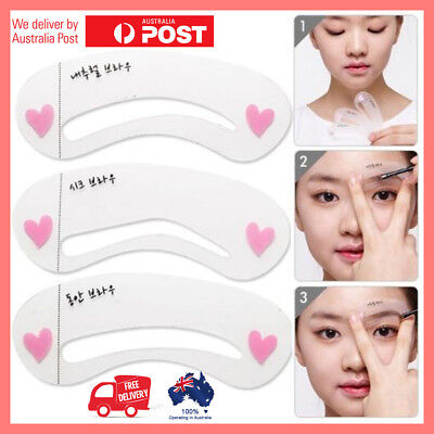 3 Styles Eyebrow Shaper Grooming Stencil Kit Template MakeUp Shaping Beauty DIY