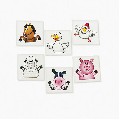 72 Farm Animal TATTOOS BIRTHDAY party favor loot bag HORSE PIG COW SHEEP DUCK