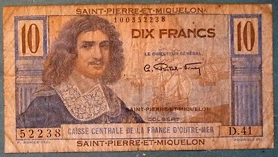 Saint Pierre & Miquelon  10 Francs Note, 1950-60  Issue , P 23,