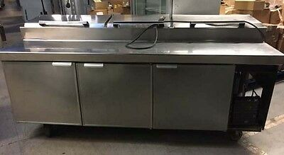 "84"" Stainless Steel 3 Door Pizza Prep Table With Refrigerated Base"
