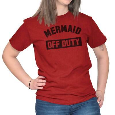Mermaid Off Duty Funny Lifeguard Beach Gym T-Shirts T Shirts Tees For Womens