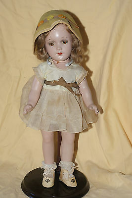 "Vintage RARE 13"" R&B Arranbee Composition Doll Tin Eyes Yellow Dress"