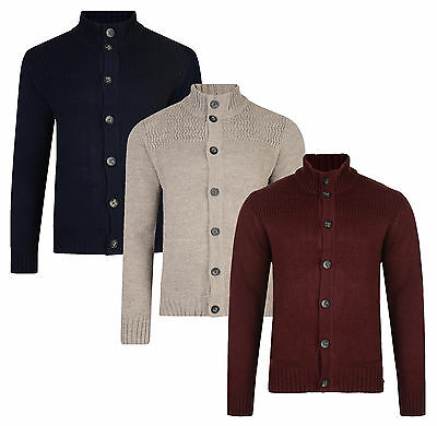 Kensington New Men's Button Front Cardigan Knitted Wool Blend Pullover Sweater