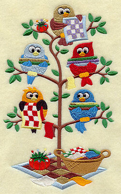 Embroidered Owl quilting tweet quilt block, fabric,cushion panel,quilt owls