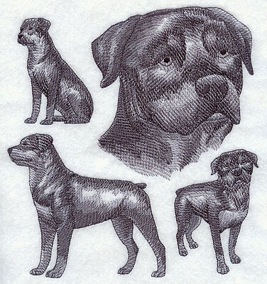 Embroidered Rottweiler sketch quilt block,dog fabric,cushion panel,gift,