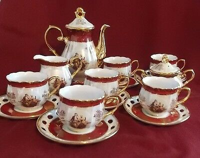 Vtg Victorian Lovers Cosmos USA Import 17 Pc Luster Tea Set w/Gold Trim Excellen