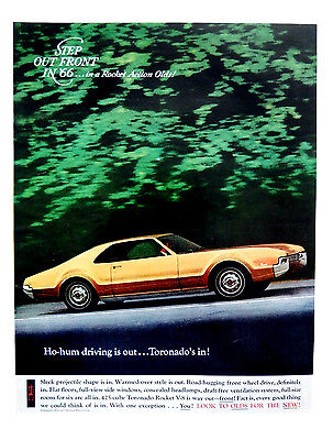 Vintage 1966 Oldsmobile Olds Toronado car advertisement print ad.