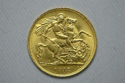 1912 Great Britain 1/2 Gold Soverign .900 Gold .1177 Oz. (cn1650)