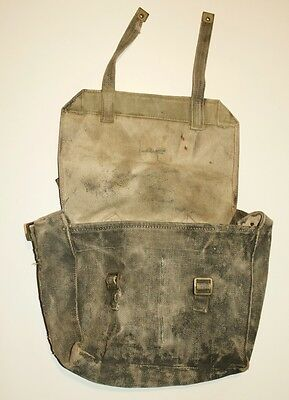 Vintage British Army Pattern 37 Small Pack Gasmask bag satchel respirator canvas