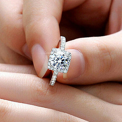 New Womens Exquisite White Sapphire 925 Silver Filled Wedding Ring Jewelry