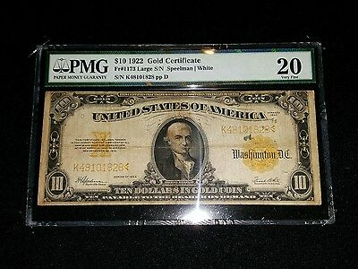 1922 $10 Gold Certificate PMG Very Fine VF Old Money Antique Currency