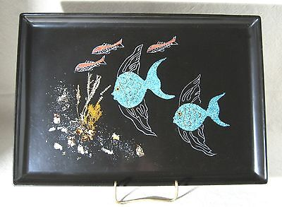 Vintage Couroc of Monterey Inlaid Fish Tray Coral Abalone Seaweed Angelfish