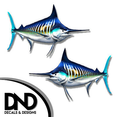 Striped Marlin Decals Fish Stickers Tackle Box RV Truck Trailer AFP-0071