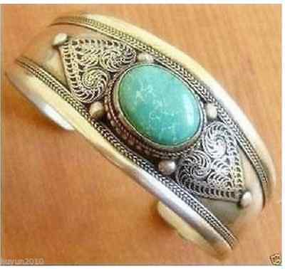 Handcrafted Unusual tibet silver turquoise men's cuff bracelet