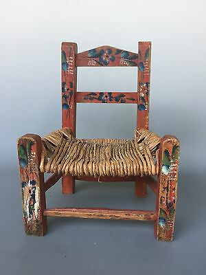 "Old Mexican Child's Chair Folk Art Handpainted Wood Cane Chair 13"" Tall"