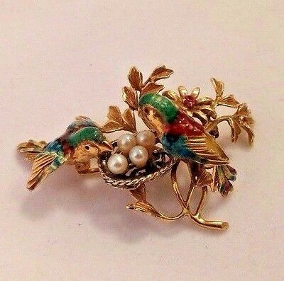 18 K Yellow Gold Ruby & Pearls Enameled Birds On Nest Brooch Pin.