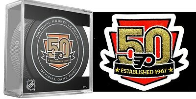 Philadelphia Flyers 50Th Year Anniversary Puck & Patch Stanley Cup Final Champs