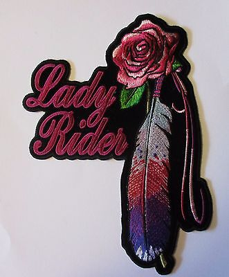 Lady rider Feather & Rose Large Back Patch Sew/iron on - rider biker Vest