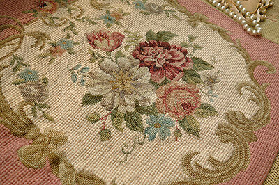 Pink French Country Roses Daisy Scroll Petit Point Needlepoint Completed Canvas