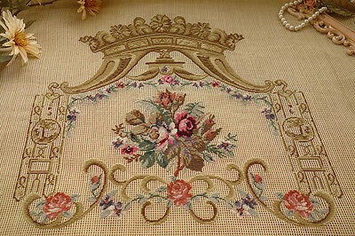 Gorgeous Vintage Royal Bronze Crown Rose Bunch French Scroll Needlepoint Canvas