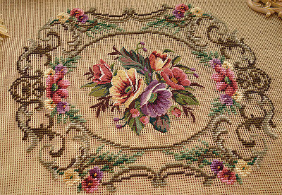 Handmade Stitched Colorful Hibiscus Flowers In Scroll Needlepoint Canvas