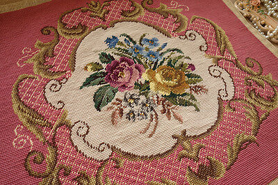 Awsome Chic Shabby French Scroll Roses Dazzling Completed Needlepoint Canvas
