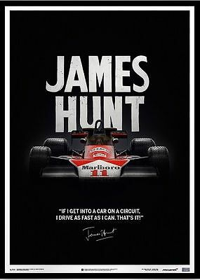 McLaren James Hunt 40th Anniversary Quote Limited Edition Framed Print Style D