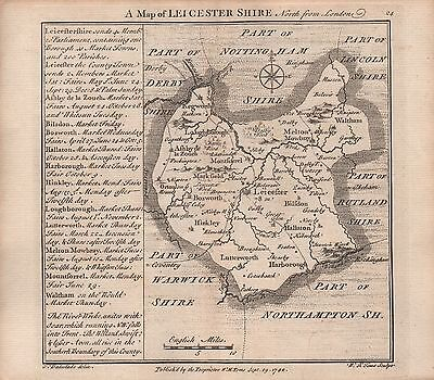 1742 Antique County Map - Badeslade & Toms Leicestershire North From London