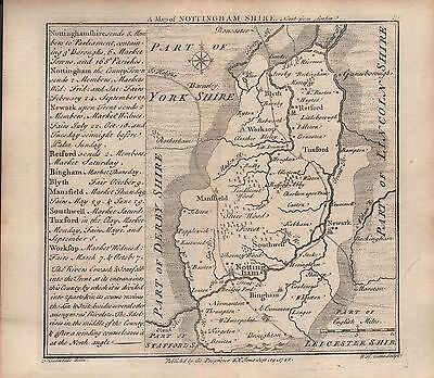 1742 Antique County Map - Badeslade & Toms Nottinghamshire North From London