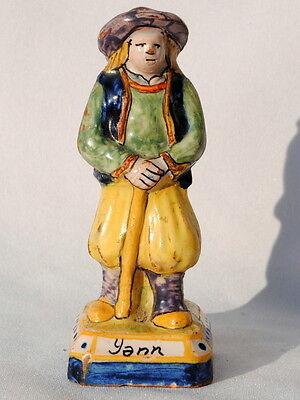 A Nice  Antique French Faience Hr Quimper Figure Of A Breton Man