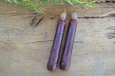 "Set of 2 BURGUNDY Taper TIMER Candle 6 1/2"" battery operated Grungy Primitive"
