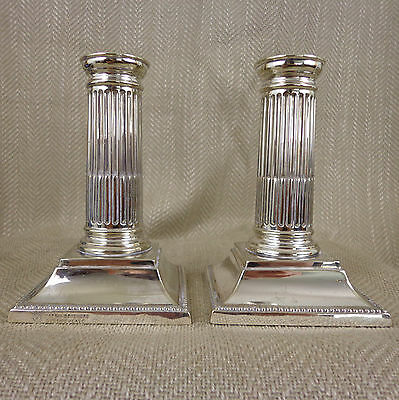 Antique Corinthian Column Candlesticks Mappin Brothers Victorian Silver Plated