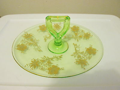 Rare Cambridge WILDFLOWER Center Handle Oval Tray Emerald Green & Gold Encrusted