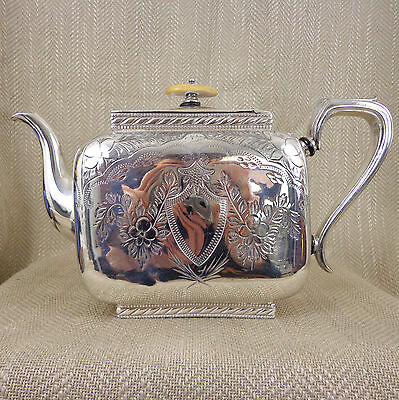 Antique Silver Plated Teapot Tea Pot Square Ornate Engraved Stunning Fancy Old