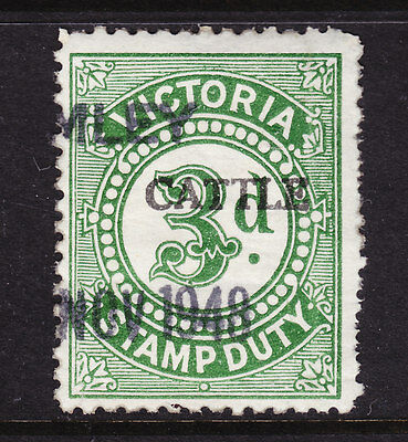 VICTORIA 3d STAMP DUTY BRIGHT GREEN OV/PR CATTLE USED