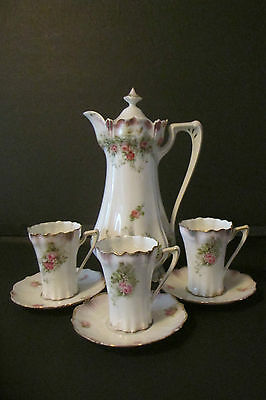 """Vintage RS Prussia """"Red Mark"""" Coffee Pot and 3 Demitasse Cups and 3 Saucers"""