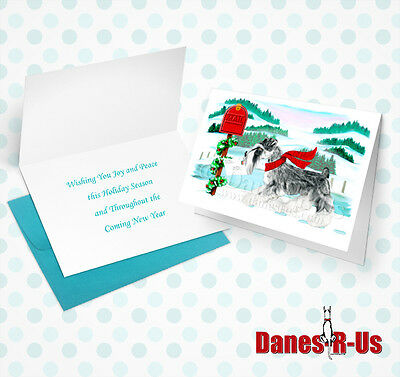 Schnauzer Holiday Mail Dog Art Christmas Greeting Note Cards Set of 10