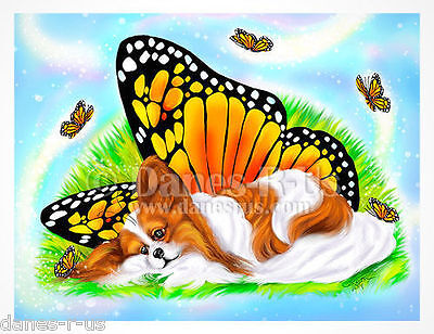 Papillon Mystical Monarch Butterfly Wings Dog Art Greeting Note Cards Set of 10