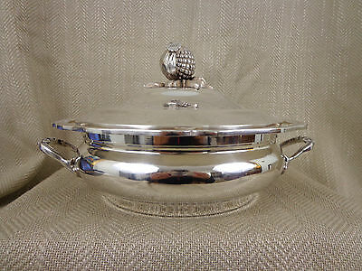 Antique Vintage Tureen Covered Serving Dish Bowl Silver Plated Sectional Ornate