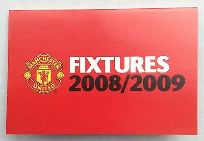 Man Utd 2008-2009 Fixture List Manchester United Official Club Issue