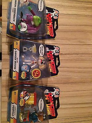 3 x Freemantle Media Dangermouse Figures - Danger Mouse Penfold Baron Greenback
