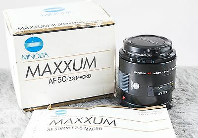 Minolta Maxxum 50mm F2.8 AF Macro Lens.  Sony Alpha   Tested/Guaranteed