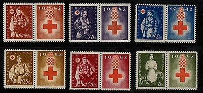 1942 CROATIA RED CROSS STAMP(MNH) S.G.67-71a