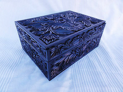 A Stunning Carved Anglo Indian Ebony Box from Ceylon