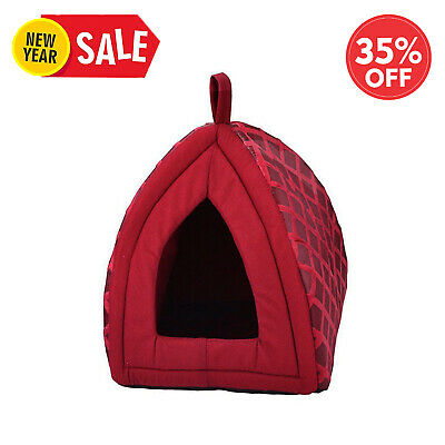 Folding Luxury Pet House Bed Cat Dog Kitten Warm Fleece Igloo Soft Cave Red Nd